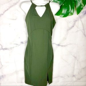 CALS Olive Green Fitted Midi Dress